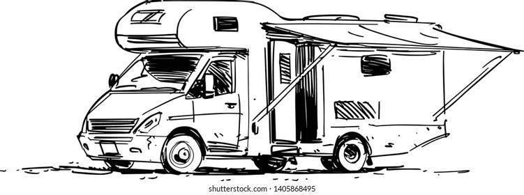 Camper Van Illustration. Side view