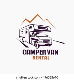 camper van outlined sketch, emblem and label template