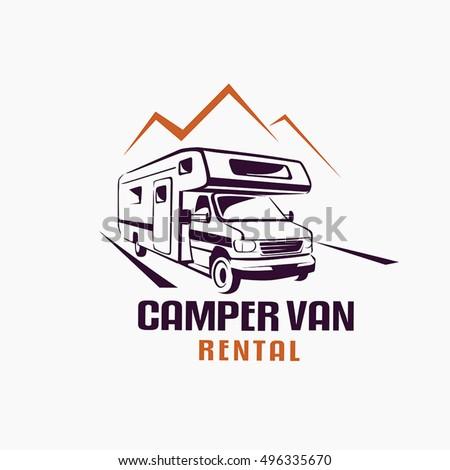 camper van outlined sketch emblem label stock vector royalty free