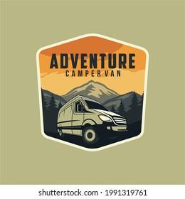 Camper van or recreational vehicle (RV) adventure car logo template, Travel and leisure vector design. - Shutterstock ID 1991319761