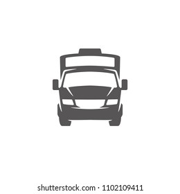 Camper van shape isolated on white background vector illustration. RV vehicle vector graphic silhouette.