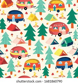 Camper vans and camping tents between forest trees seamless vector pattern. Cute vintage style campground scene repeating background. Use for fabric, wallpaper, kids decor.