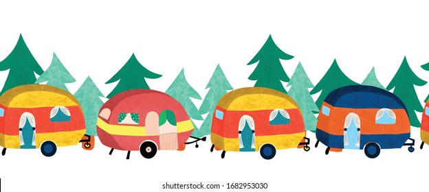 Camper vans in front of forest trees seamless vector border. Cute vintage style camping trailers repeating pattern.