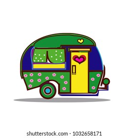 Camper vector cartoon. Happy camper