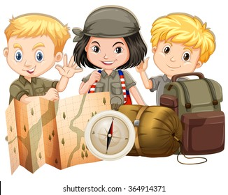 Campers with map and bags illustration