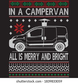 in a campervan all is merry and bright t shirt design, you can download vector file.