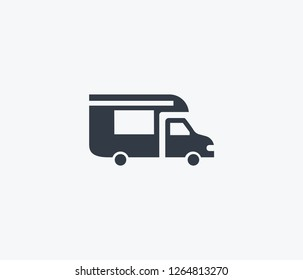 Campervan icon isolated on clean background. Campervan icon concept drawing icon in modern style. Vector illustration for your web mobile logo app UI design.