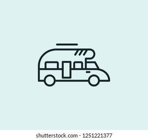 Campervan icon line isolated on clean background. Campervan icon concept drawing icon line in modern style. Vector illustration for your web mobile logo app UI design.