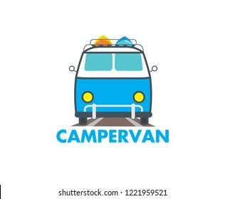 Campervan illustation in cartoon style isolated on white background. Blue with white campervan logo for a camping business. Family holiday symbol stock vector illustration.