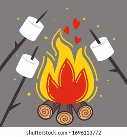 Campfire and  branches with roasted marshmallows. Vector cartoon  illustration.