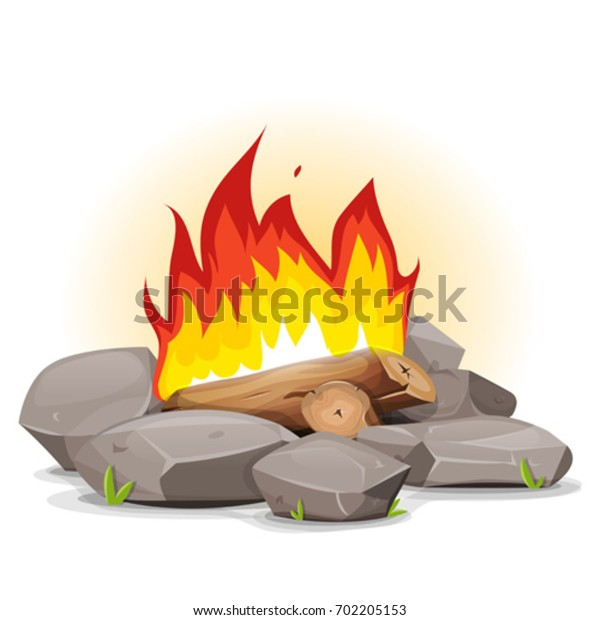 Campfire With Burning Flames/ Illustration of a cartoon campfire with burning flames and stones around