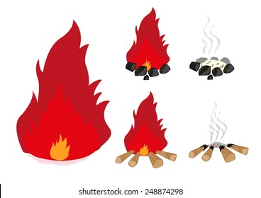 Campfire in charcoal and wood set. Editable Clip Art.
