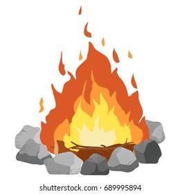 Campfire clip art illustration on white background. Textured cartoon.