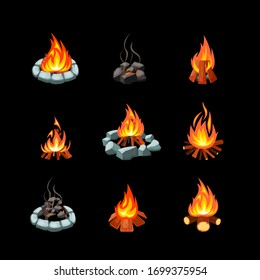 campfire. collection pictures of glowing flame from bonfire tourism outdoor symbols natural forest fire places. Vector cartoon set