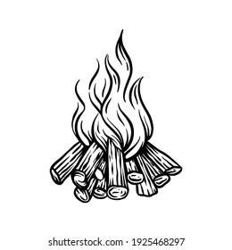 campfire firewood retro silhouette vintage