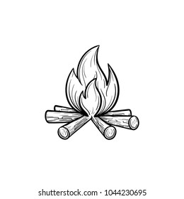 Campfire hand drawn outline doodle icon. Fireplace vector sketch illustration for print, web, mobile and infographics isolated on white background.