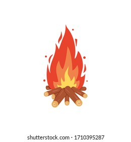 Campfire icon. Burning bonfire vector. Firewood flames, burn fireplace cartoon illustration.