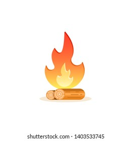 Campfire icon, vector isolated cartoon colorful illustration.