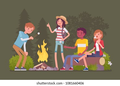 Campfire outdoor fun. Happy young friends at camp or picnic, enjoy roasting marshmallow at fire, sitting at beach bonfires in a night wood, warming and talking. Vector flat style cartoon illustration