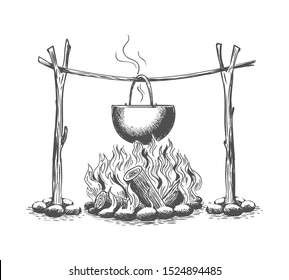 Campfire and pot. Vintage fire camping cooking in cauldron on firewood and flame hand drawn vector illustration, outdoor hot meal cook sketch