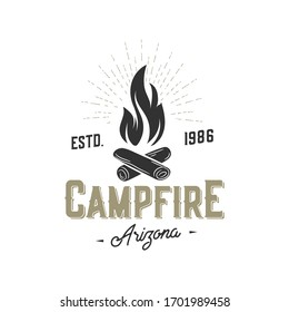 Campfire vintage  element isolated on white. Vector illustration.