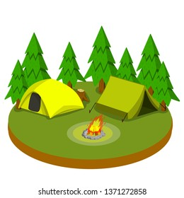 Campground in nature. Outdoor activity. Sports and recreation. Two Yellow tent. Summer season. Fire and wood. Campfire and camp. Cartoon flat illustration on platform