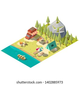 Campground on forest river or lake shore isometric vector with camping van, tourist tent, fireplace, lounge chairs under umbrella, fishing rod, dinner table and oar boat in water low poly illustration