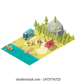 Campground on mountain lake shore with fireplace, van, touristic tent and oar boat in water isometric vector illustration isolated on white background. Fishing and resting with family in national park