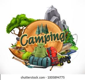 Camping, 3d vector emblem