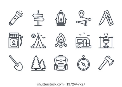 Camping activities related line icon set. Travel linear icons. Camp survivals outline vector sign collection.
