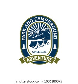 Camping adventure or mountain camp and outdoor hiking club badge design. Vector isolated icon of campground tents in summer or winter mountains for extreme nature camp trip or mountaineering
