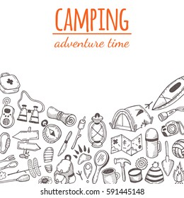 Camping. Adventure time. Hand drawn vector illustration. Flashlight, marshmallow, camera, map, compass, backpack, tent, ax, fire, rope, road sign, fishing hook, binoculars, pot.
