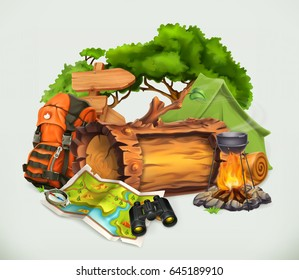 Camping and adventure time, vector illustration