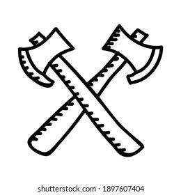 Camping Axes Color Icon. Vector Design Illustration Sign Logo.