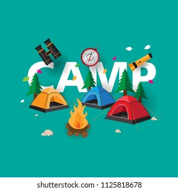 camping background with cool design and creative