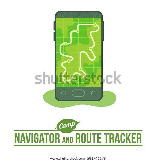 Camping background with navigator and route tracker outdoor vector flat icon. Mobile Gps Navigation with map and icon.