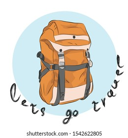 Camping backpack.Big tourist bag for adventure and.  Rucksack travel, tourist knapsack outdoor hiking traveler, baggage luggage. Can be used for printing on T-shirts, flyers and stuff. Vect