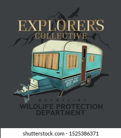 Camping badge design. Outdoor adventure logo with quote - Home is where we park it, for t shirt. Included retro camper van trailer and wanderlust patches.