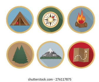 Camping Badges Long Shadow Icons - set of 6.  Features a tent, compass, campfire, pin tress, mountain, and map.