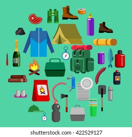 Camping and barbecue object. Weekend and party and picnic icons. Hiking object. Vector camp
