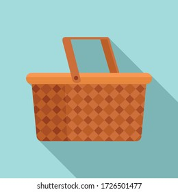 Camping basket icon. Flat illustration of camping basket vector icon for web design