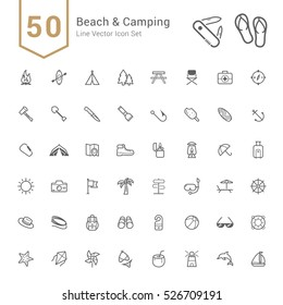 Camping & Beach Icon Set. 50 Line Vector Icons.