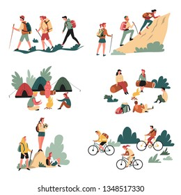 Camping and bicycles walking and campfire hiking outdoor activity vector hikers or tourists with backpacks climbing mountain riding bike bonfire tents and binocular sitting on logs in forest travel