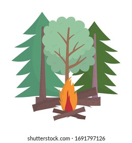 camping with bonfire in the trees forest cartoon. isolated design vector illustration