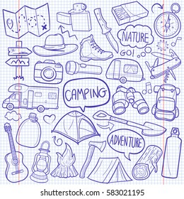 Camping Camper Adventure Doodle Icon Vector Notebook art