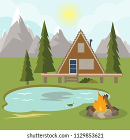 Camping with campfire. Forest Pine Wood Camping Beside Lake. Rock Mountain Camping Spot. House on forest with trees. House in the Woods with blue mountains vector Illustration.
