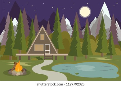 Camping with campfire. Night Forest Pine Wood Camping Beside Lake. Rock Mountain Camping Spot. House on forest with trees. House in the Woods with blue mountains vector Illustration.