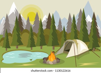 Camping with campfire. Summer Forest Pine Wood Camping Beside Lake. Rock Mountain Camping Spot. A camping scene in a mountain landscape featuring a tent, campfire, sleeping bags, and pine trees.