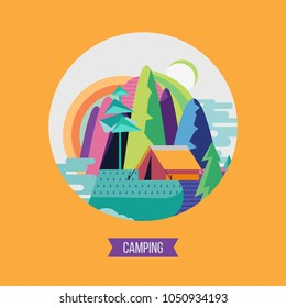 Camping. Campground in the woods. Summer outdoor recreation. Vector illustration. The emblem of tourism.