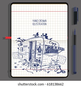 Camping Car. Travel and Recreation Time Concept. Vector Notebooks with Fine Liner Pen and Hand Drawn Doodles.